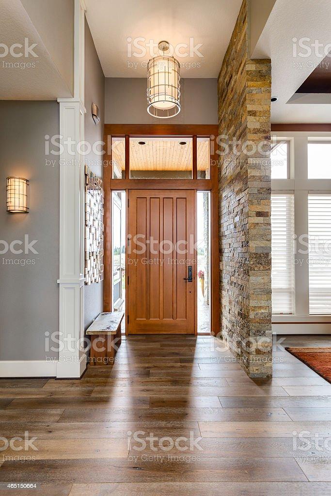 Front Door and Entryway in Luxury Home stock photo