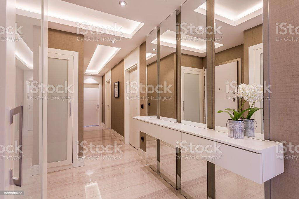 Front Door and Entryway in Luxury Home stock photo