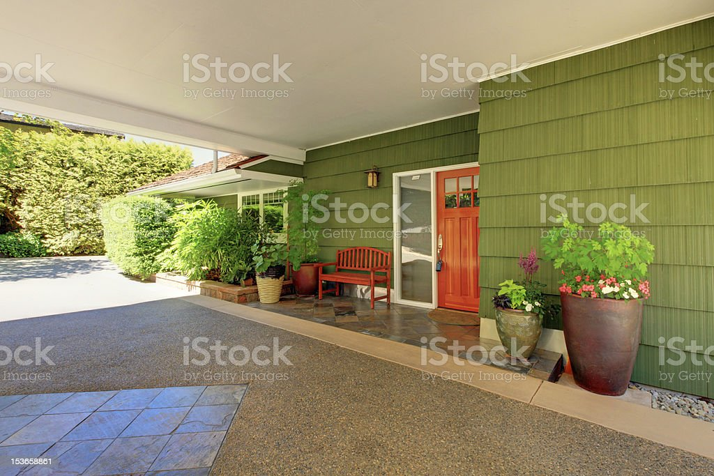 Front door and green house with nice curb appeal. royalty-free stock photo