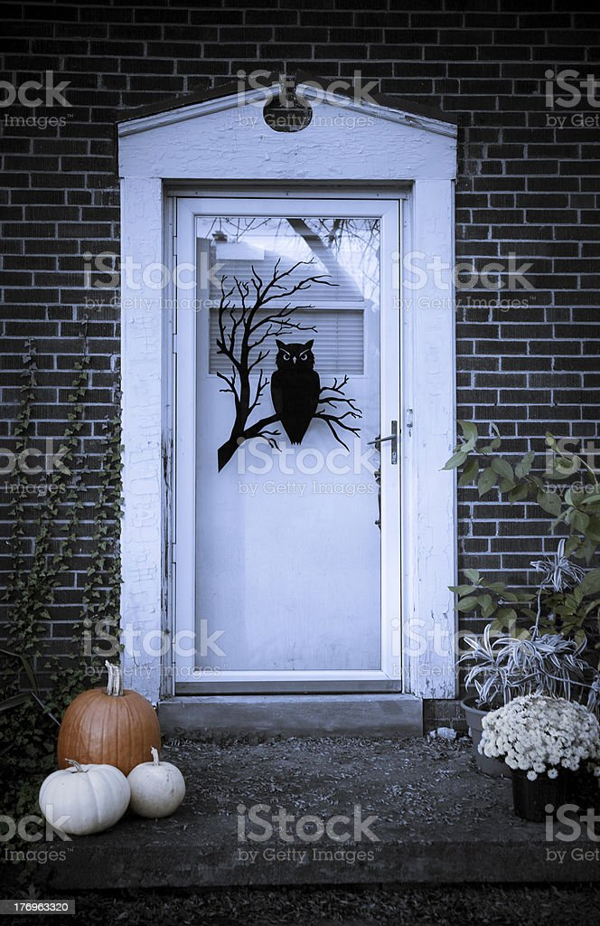Front Door Decorated for Halloween royalty-free stock photo
