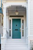 Front door, front view of front blue door