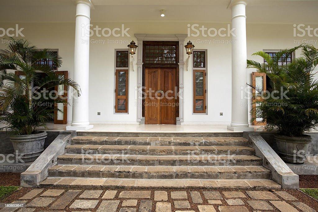 front door luxury estate home villa stock photo