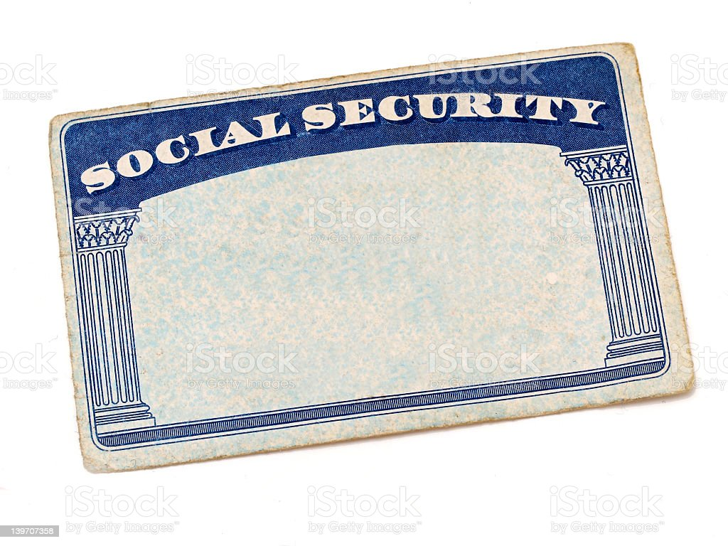 A front door mat showing social security stock photo