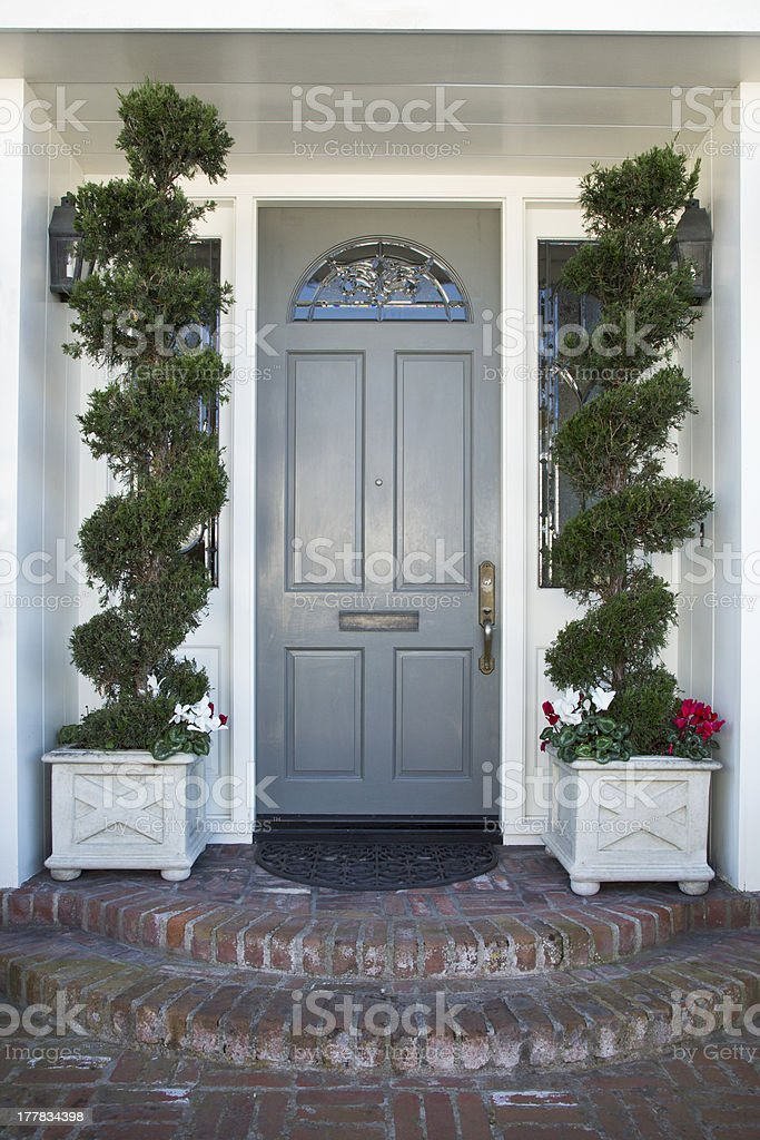 Front door of an upscale home royalty-free stock photo