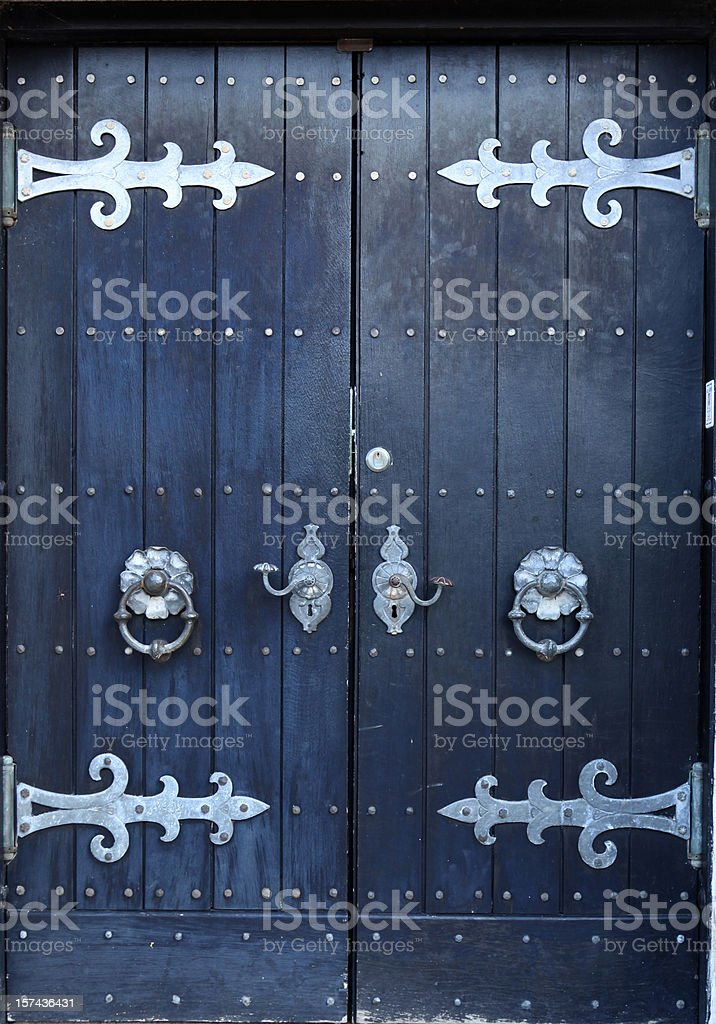 Front door of ancient church  in Denmark royalty-free stock photo
