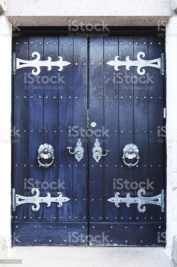 Front door of ancient church in Egtved, Denmark stock photo