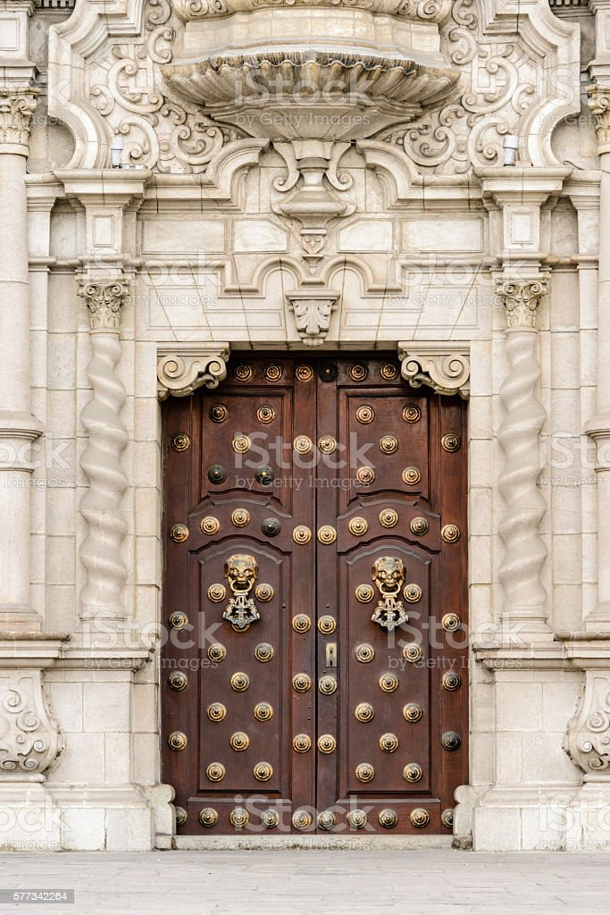 Front door of the Archbishop's Palace, Lima, Peru stock photo