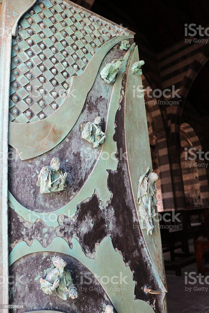 Front door of the Church San Pietro, Porto Venere Italy stock photo