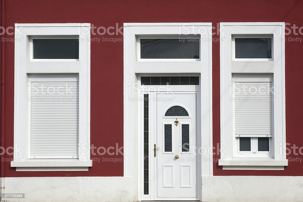 Front Door Of Vintage Apartment Building Stock Photo