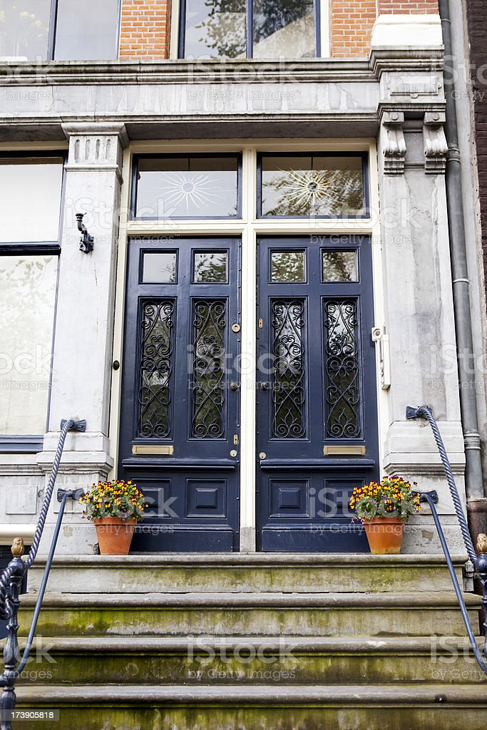 Front Door on Amsterdam Townhouse royalty-free stock photo