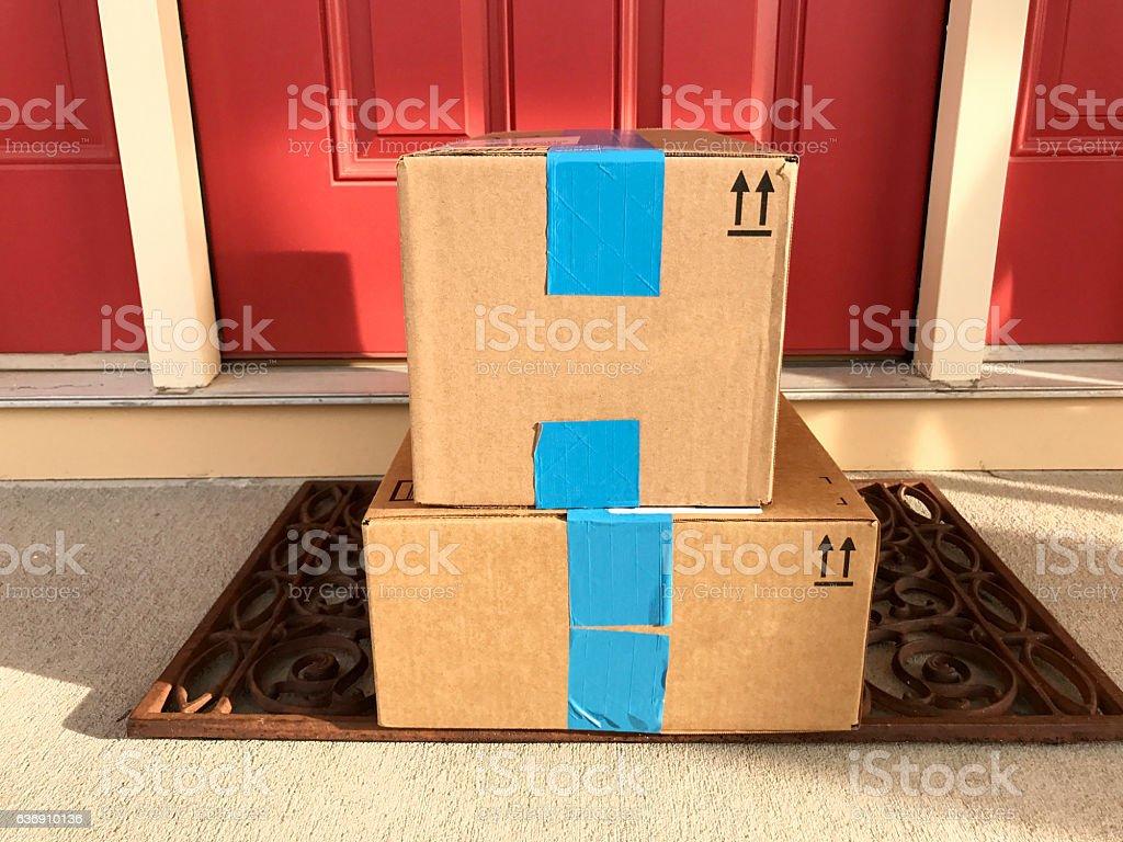 Front Door Packages stock photo