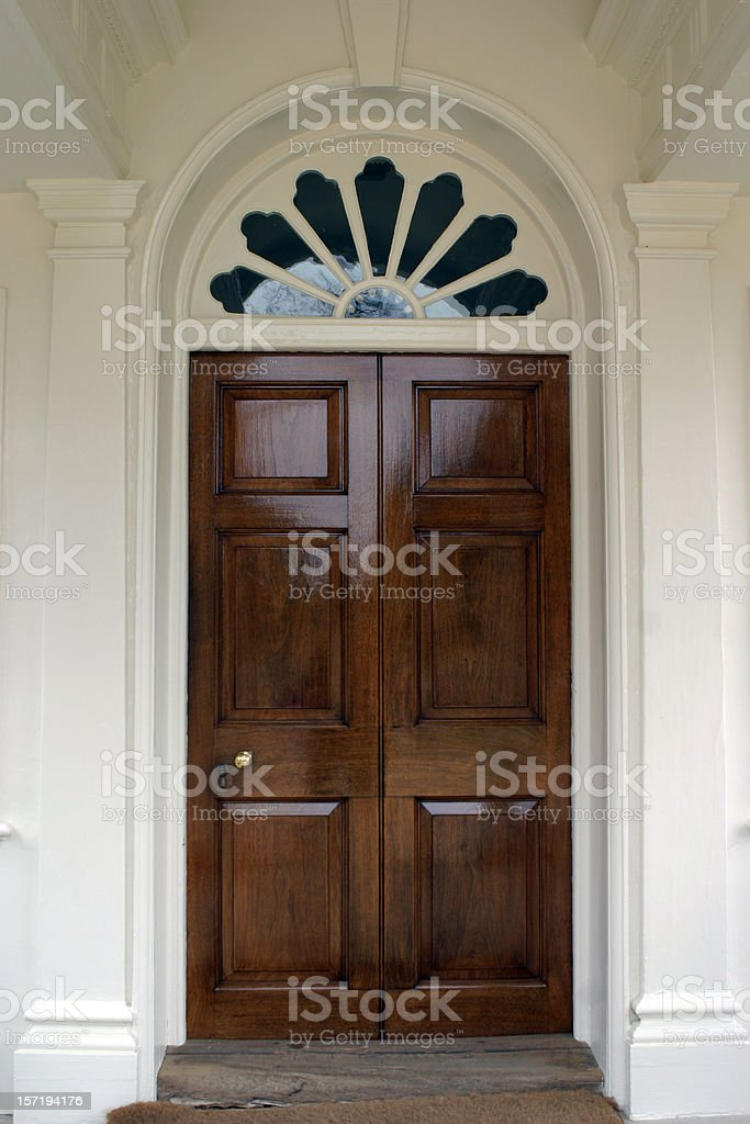Front Door to Home with Fanlight royalty-free stock photo