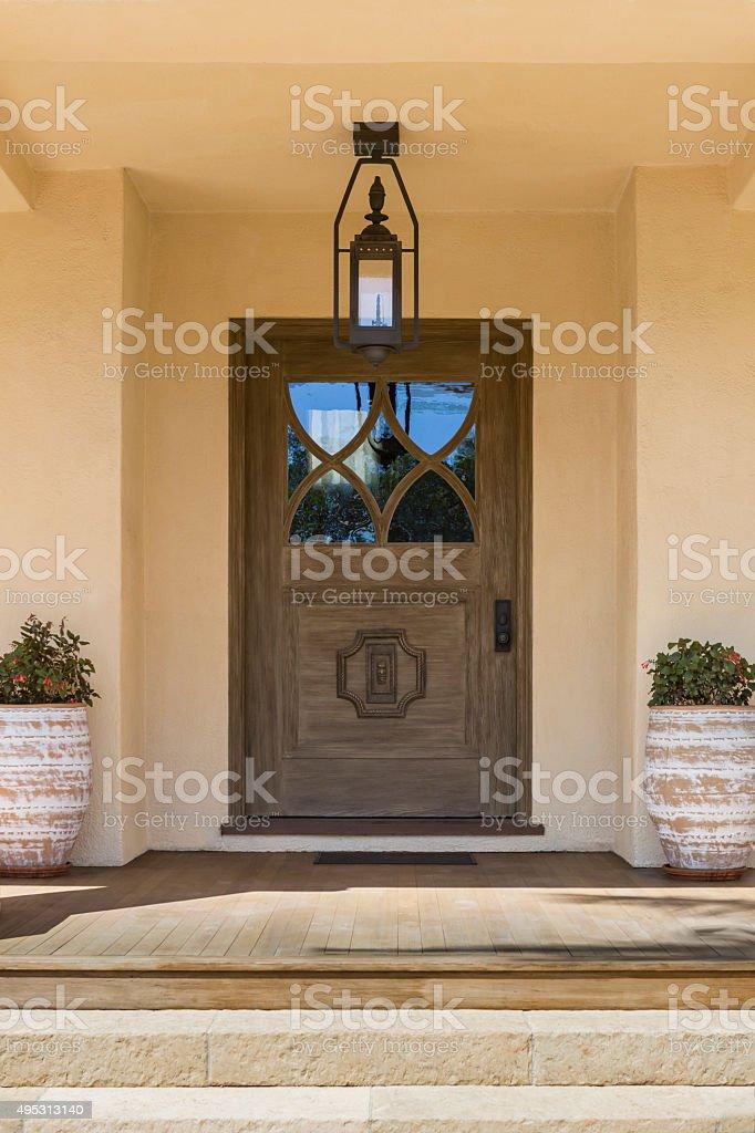 front door, wide and brown stock photo
