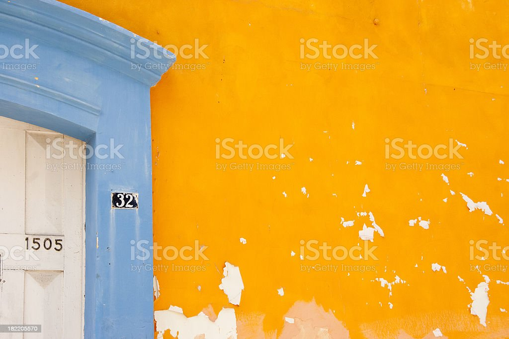 Front Door With Two Different Addresses, Mexico, Grunge, Copyspace royalty-free stock photo