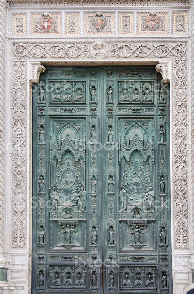 Front Doors of Duomo in Florence, Italy stock photo