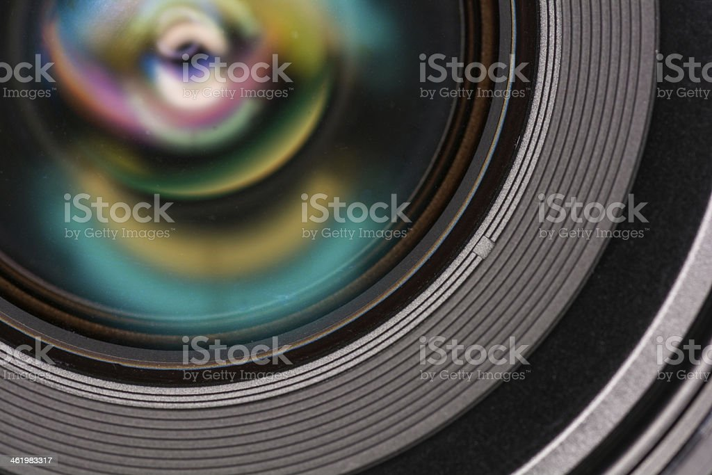 Front element of a camera lens stock photo