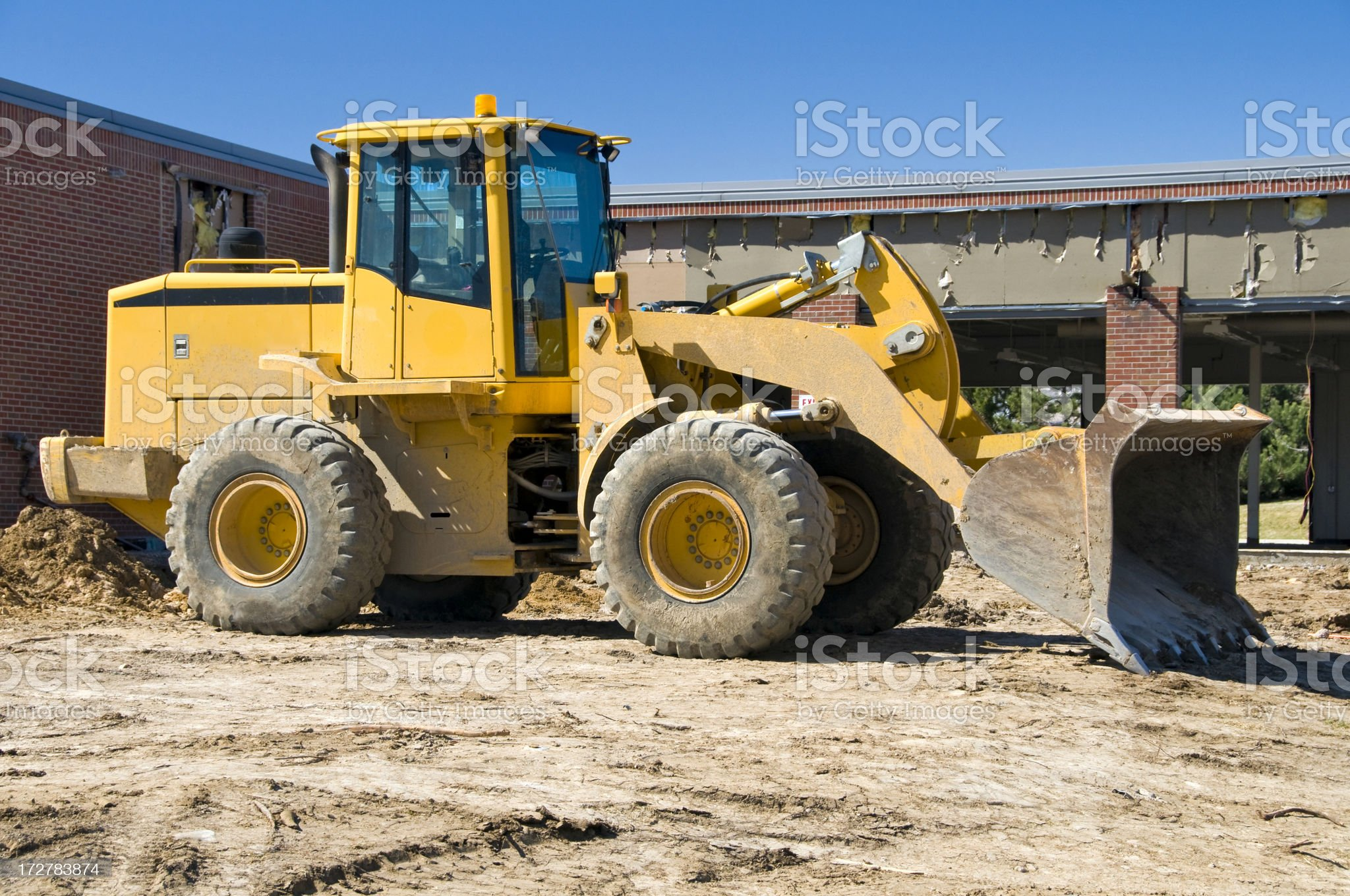 Front End Loader at Demolition Site royalty-free stock photo