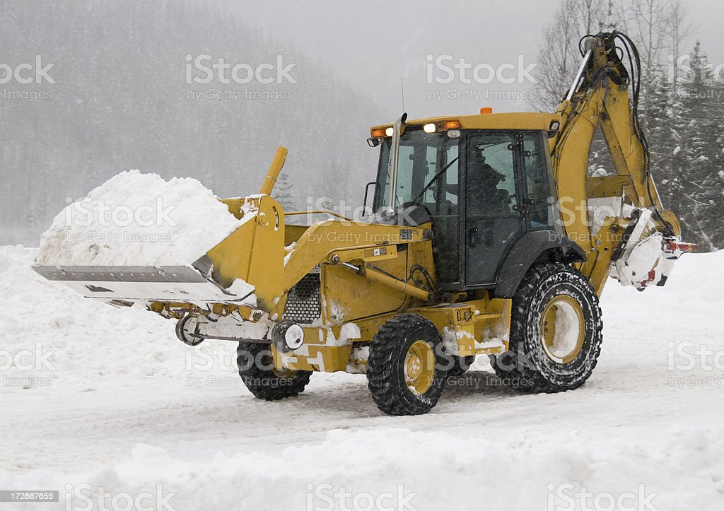 Front End Loader Clearing Snow stock photo