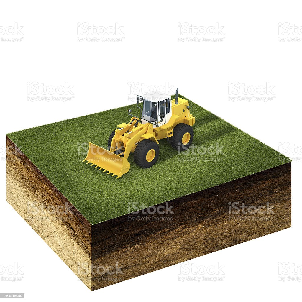front end loader on grass stock photo