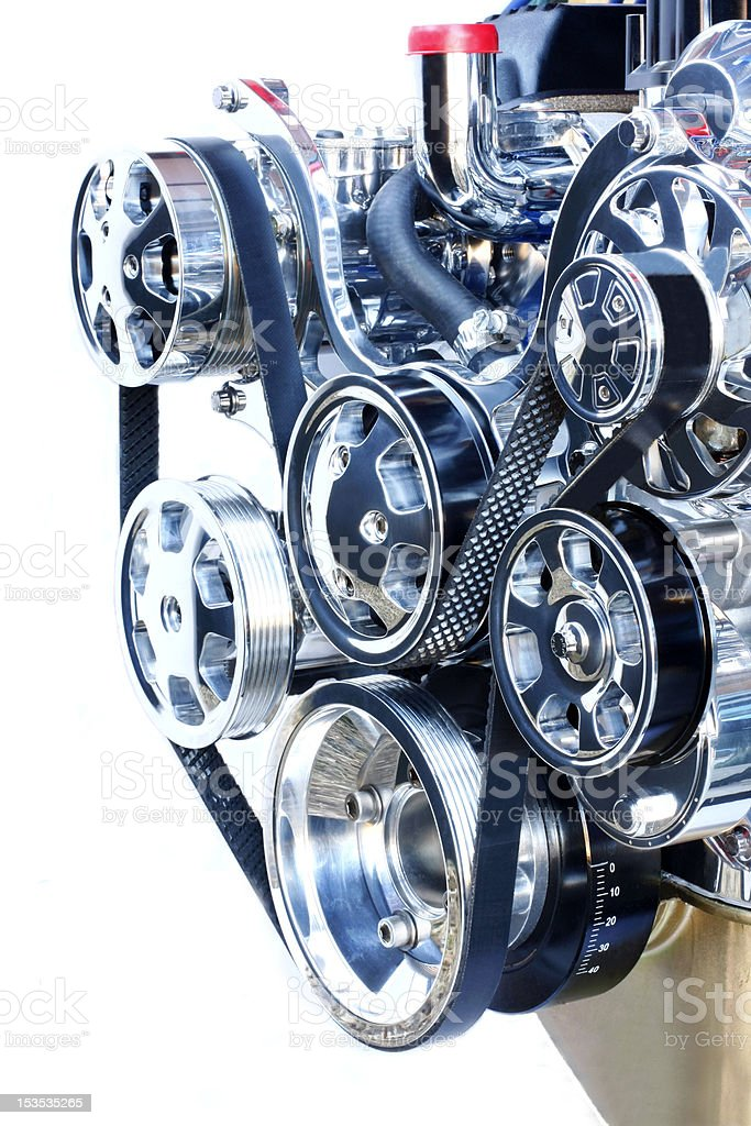 Front End of A Chrome V8 Engine royalty-free stock photo