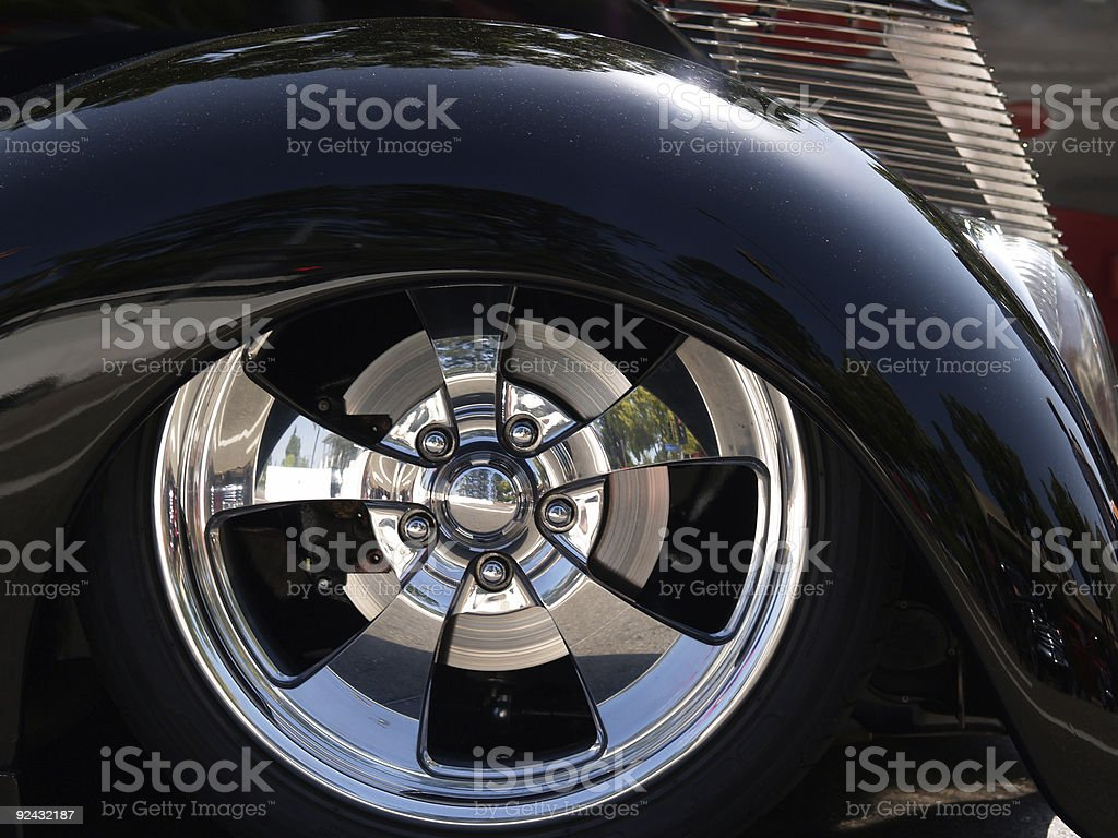 Front End of Classic Black Car stock photo