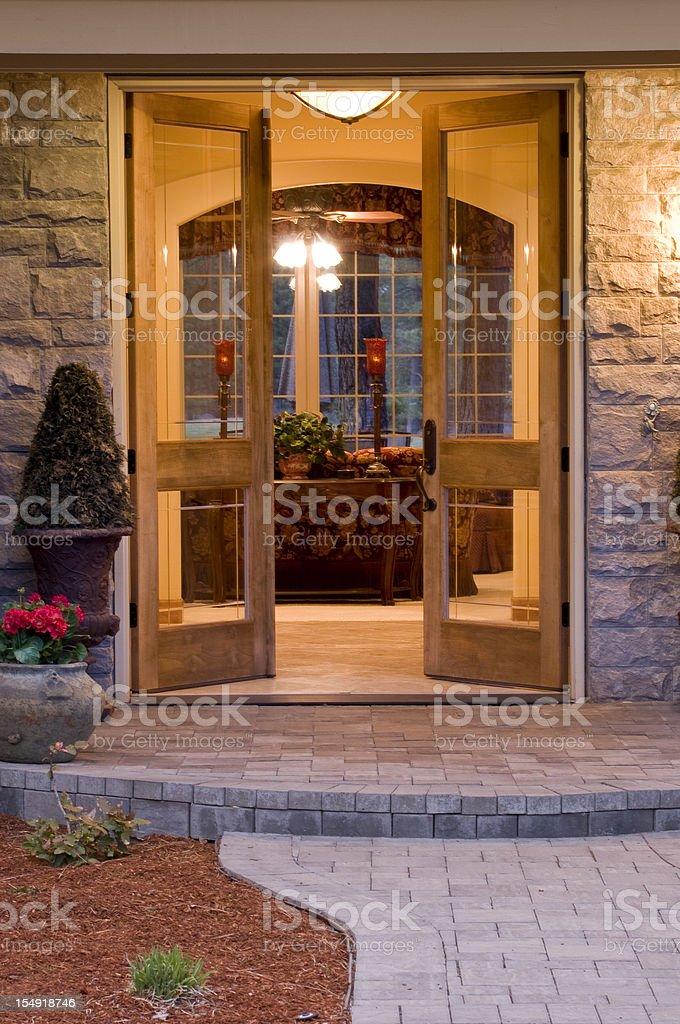 Front entrance door open stock photo