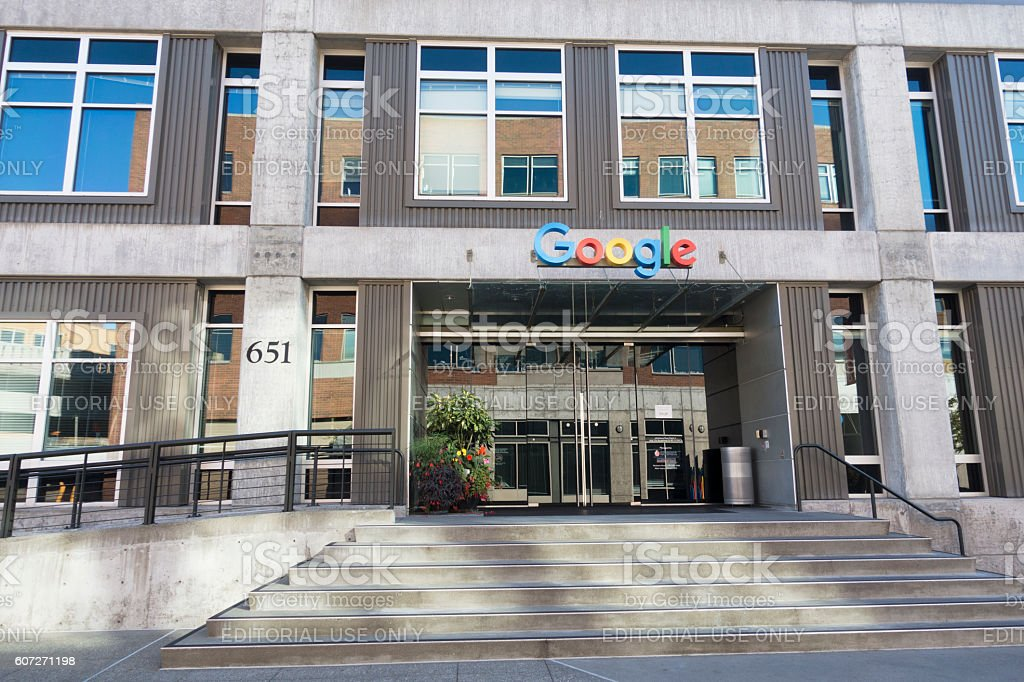 Front Entrance Sign at Google Alphabet Technology Corporation Building Seattle stock photo