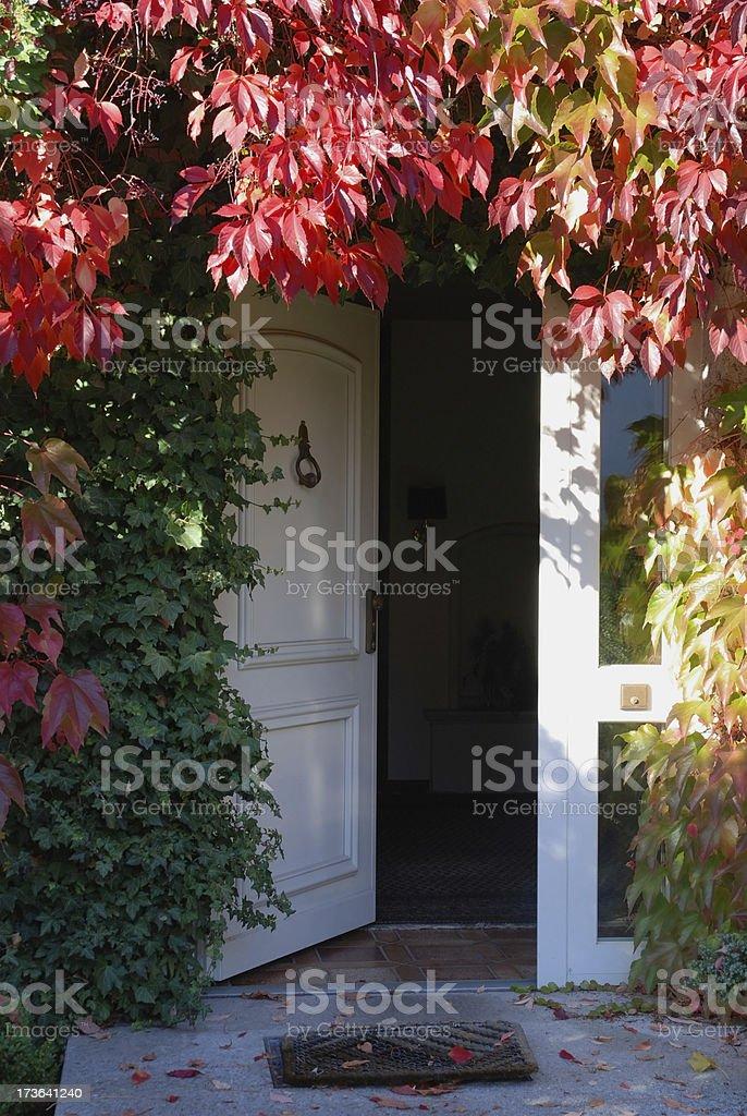 front entrence door in autumn stock photo