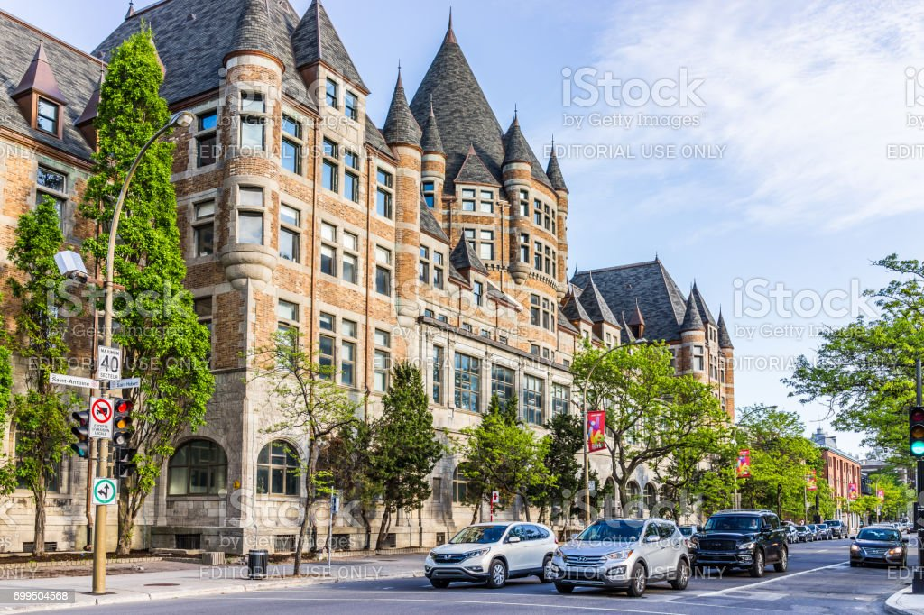 Front exterior view of Gare Viger in Quebec region during sunny summer day stock photo
