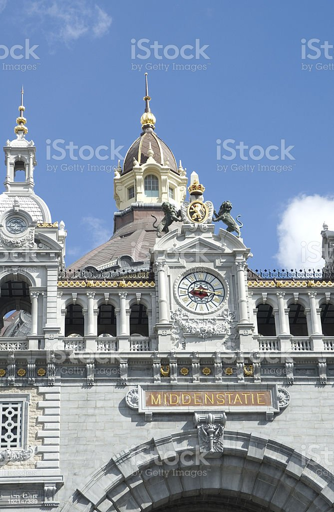 Front facade of Antwerp central railway station royalty-free stock photo