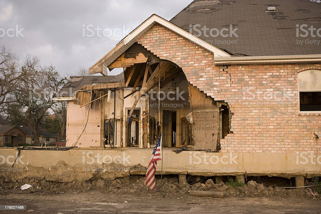 Front facade of damaged home near 17th Street Canal royalty-free stock photo