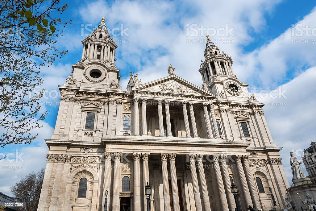 Front facade of St Paul's Cathedral London stock photo