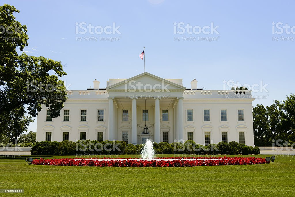 Front facade of the White House in Washington, DC royalty-free stock photo