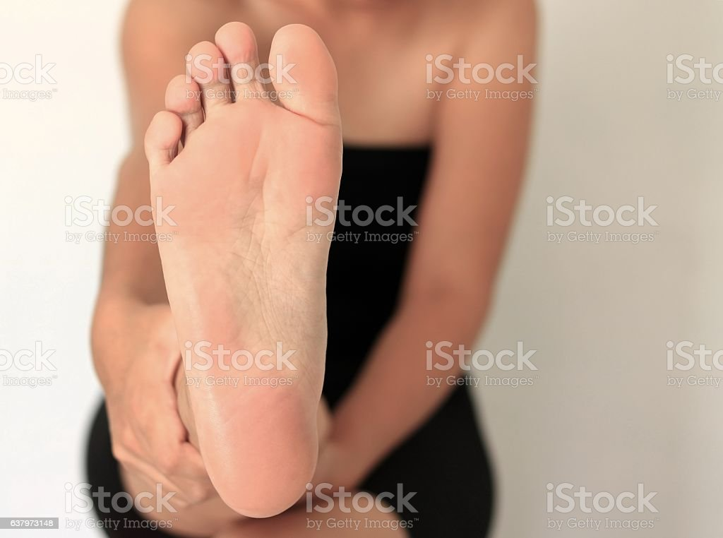 Front Foot Woman stock photo