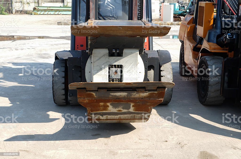 front Forklift Attachment Paper Roll Clamp stock photo