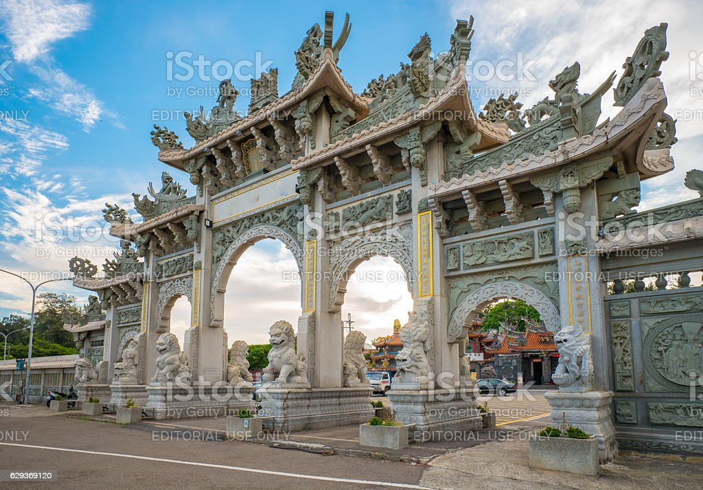 Front gate of a Chinese temple stock photo