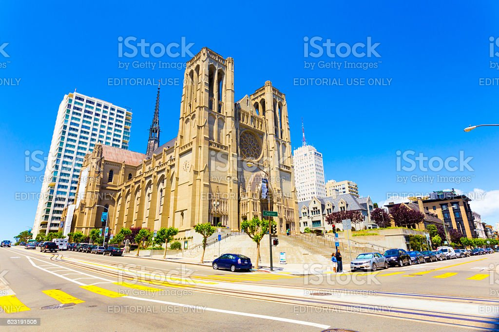 Front Grace Cathedral San Francisco Sunny Day stock photo