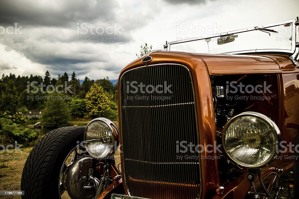 front grill of classic car stock photo