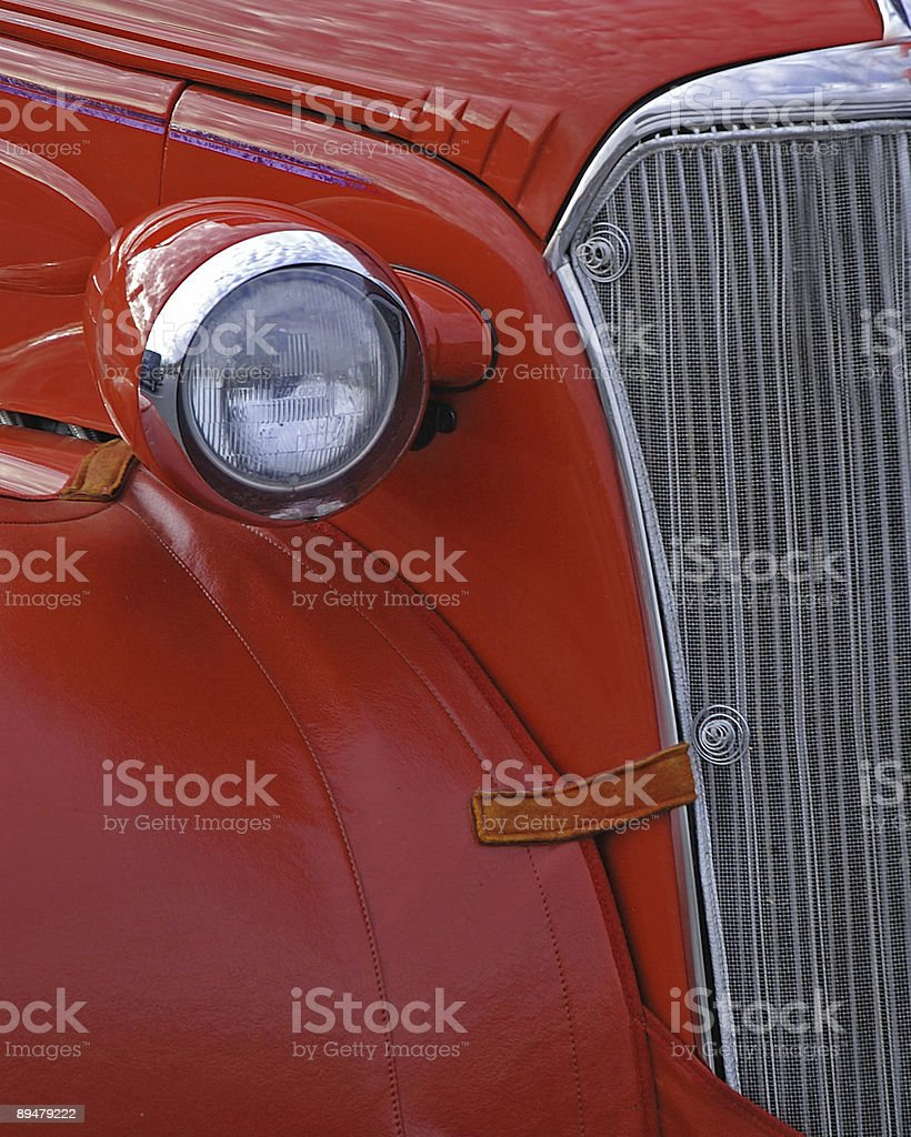 front headlight of old red car royalty-free stock photo