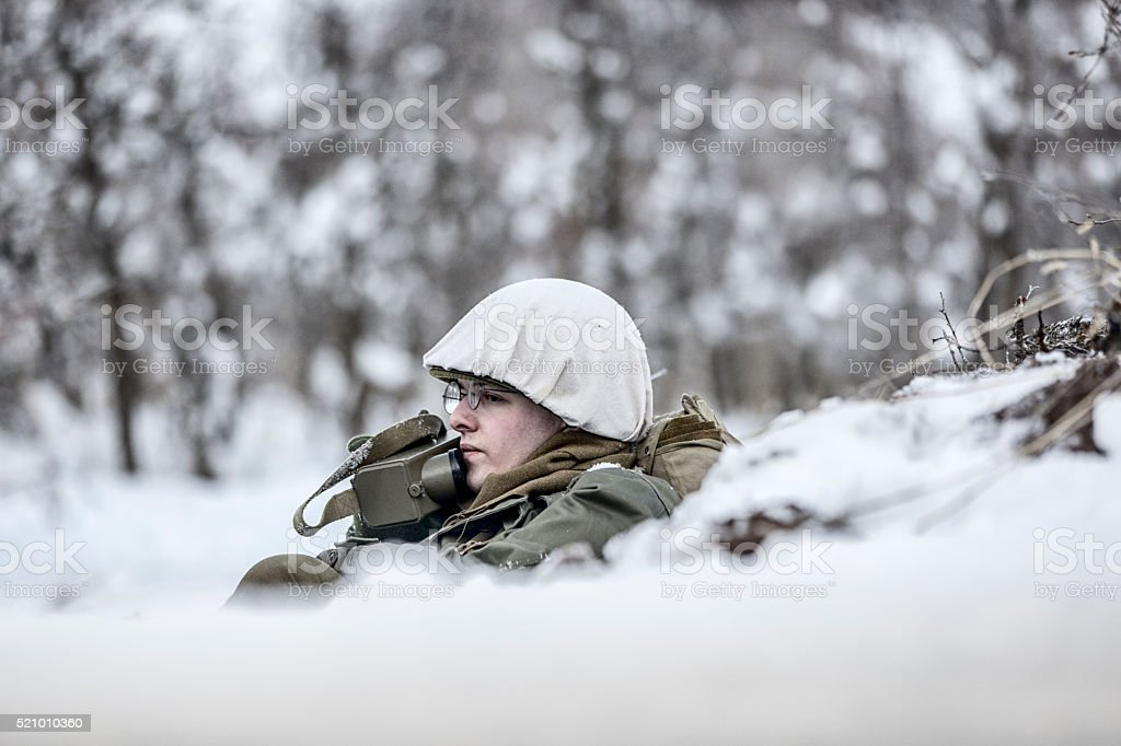 WW II: Front Lines Soldier with Walkie Talkie stock photo