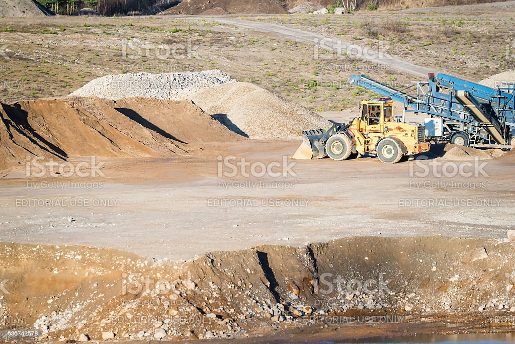 Front loader in quarry stock photo