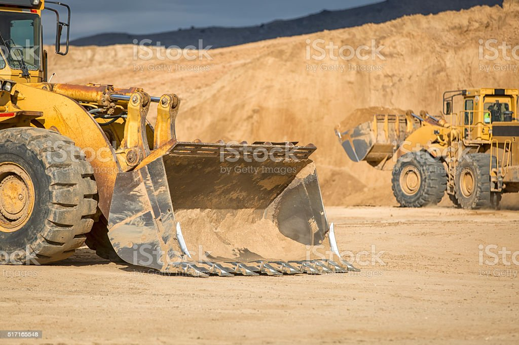 Front Loader Moving Dirt stock photo