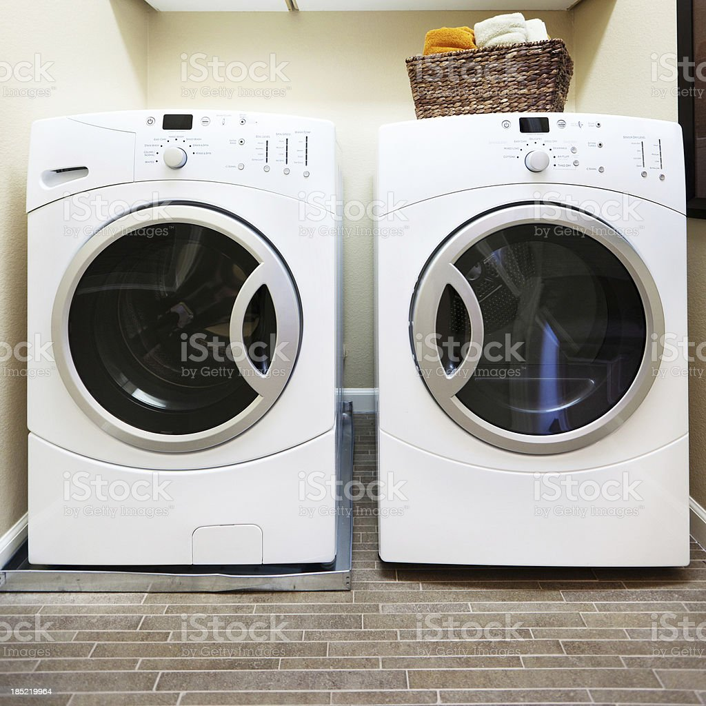 Front Loading Washer and Drier stock photo