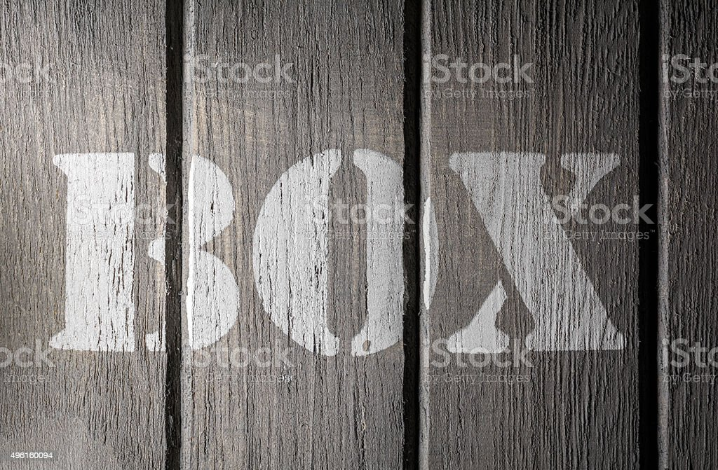 Front Macro Of Wood Panels With A BOX Logo stock photo