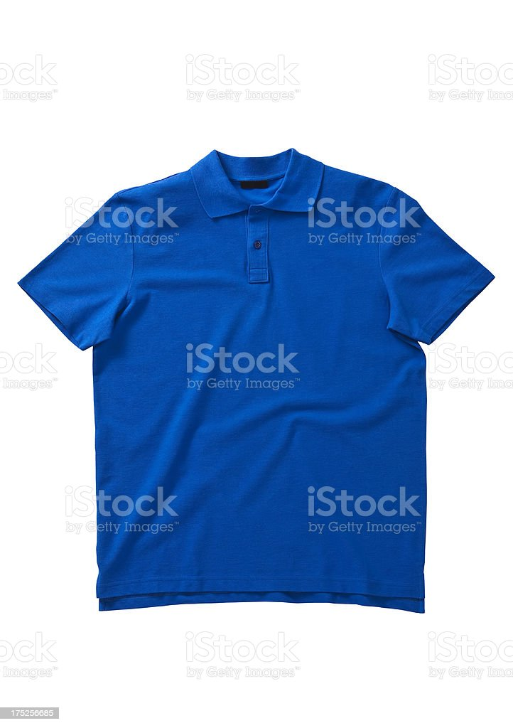 Front of a clean blue polo T-Shirt stock photo