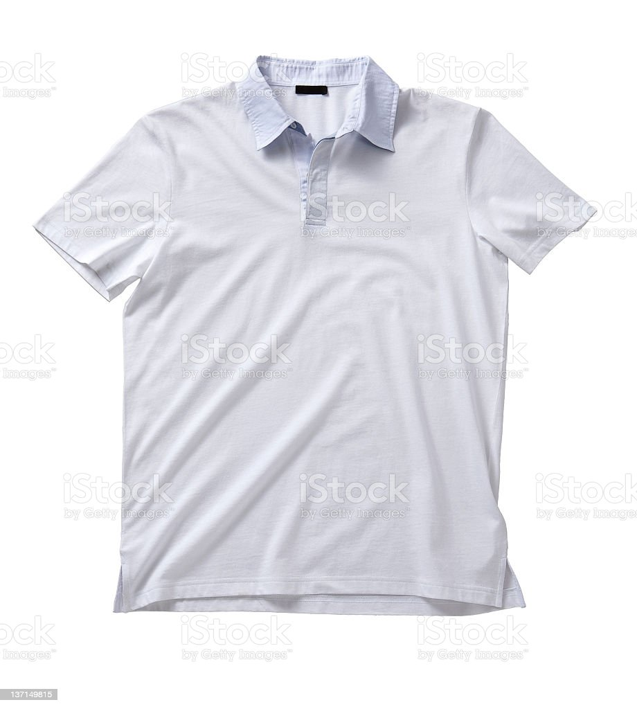 Front of a clean White T-Shirt (Polo). stock photo