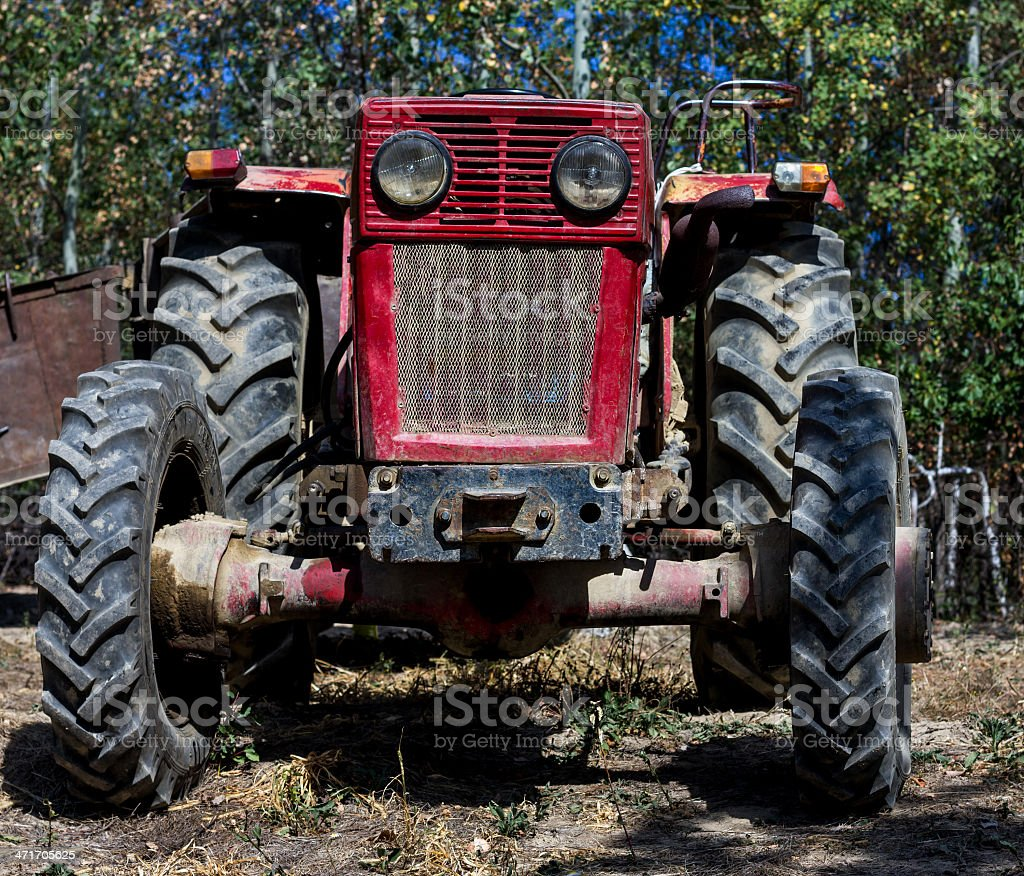 front of a farm tractor royalty-free stock photo