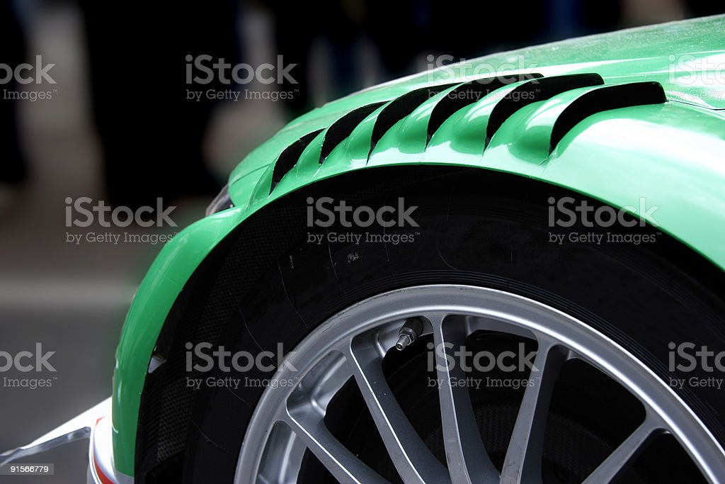 Front of a Green racing car royalty-free stock photo