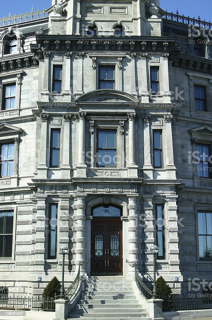Front of a historical builing in old Montreal royalty-free stock photo