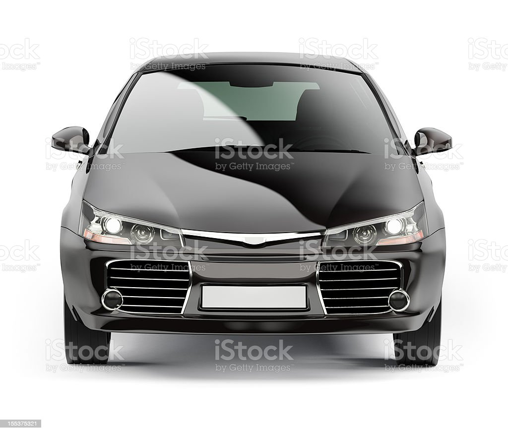 Front of a modern black compact car isolated on white stock photo